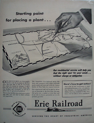 Erie RR Starting Point Ad 1949