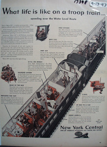 NYC RR Life on Troop Train Ad 1943
