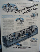 New York Central RR Locomotives in Test Tube Ad 1945