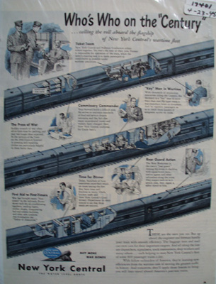 New York Central RR Who's Who Ad 1945
