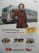 New York Central RR Low Cost Luxury Ad 1947