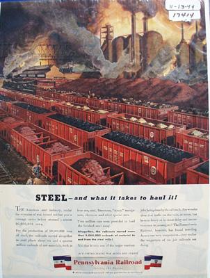 Pennsylvania RR Hauling Steel Ad 1944