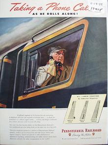 Pennsylvania RR Taking Phone Call Ad 1945