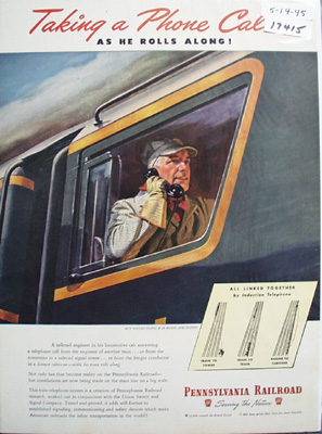 Pennsylvania RR Taking Phone Call Ad 1945