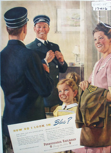 Pennsylvania RR Look in Blue Ad 1945