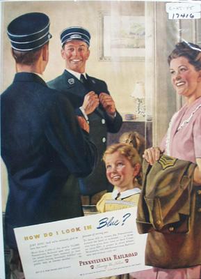 Pennsylvania RR Look in Blue Ad 1945