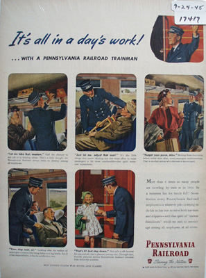 Pennsylvania Railroad Day's Work Ad 1945
