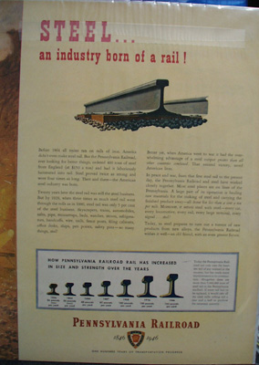 Pennsylvania RR Steel Born of Rail Ad 1946