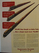 Pennsylvania RR Cost of Coach Ad 1947