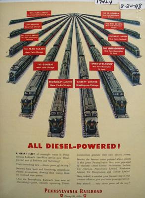 Pennsylvania RR Diesel Powered Ad 1948
