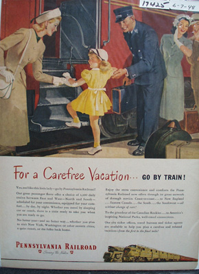 Pennsylvania RR Carefree Vacation Ad 1948