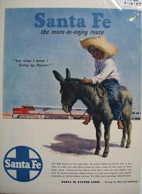 Santa Fe RR & Boy ON Donkey Ad 1947