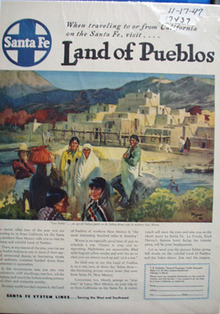 Santa Fe RR Land of Pueblos Ad 1947