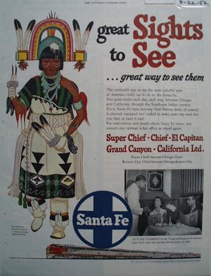 Santa Fe RR Sights to See Ad 1952