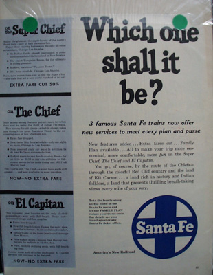 Santa Fe RR Which One Ad 1954