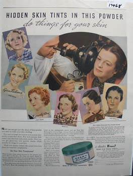 Pond's Face Powder Hidden Skin Ad 1935