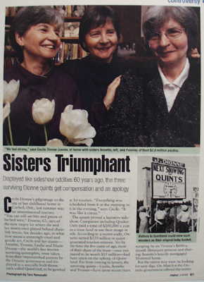Dionne Sisters Triumphant. Article 1998