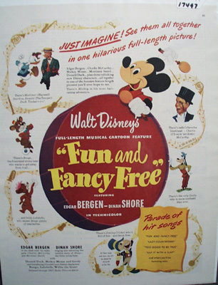 Walt Disney Fun & Fancy Free Movie Ad with Drum 1947