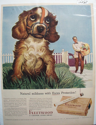 Fleetwood Cigarettes & Cocker Spaniel Ad 1943
