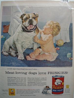 Friskies Dog Food, Baby & Bull Dog Ad