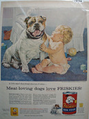 Friskies Dog Food, Baby & Bull Dog Ad