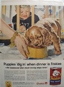 Friskies Dog Food & Cocker Spaniel Pup Ad 1957