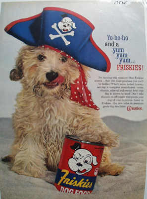 Friskies & Cocker Spaniel with Sailor Hat Ad 1960