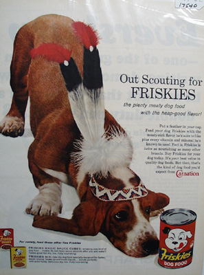 Friskies & Bassett With Feather Cap Ad 1962