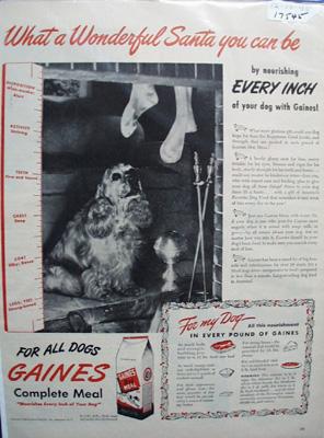 Gaines Cocker Spaniel Christmas Ad 1945