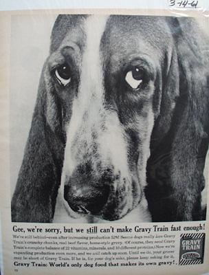 Gaines Gravy Train & Basset Ad 1961