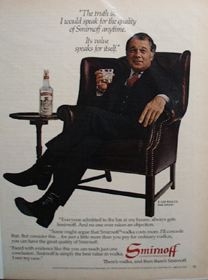 Smirnoff Vodka & F.Lee Bailey Ad  1982