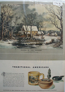 Currier & Ives Shaving Mug Winter Scene Ad 1946