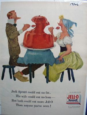Jell-0 & Apple Core Jell-0 Ad 1955