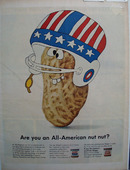 Skippy Football Helmet in Red/White/Blue Ad 1966