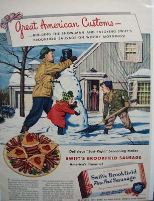 Swifts Sausage & Snowman Ad 1950