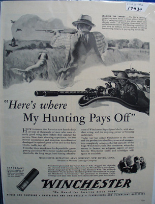 Winchester Hunting Pays Off Ad 1942