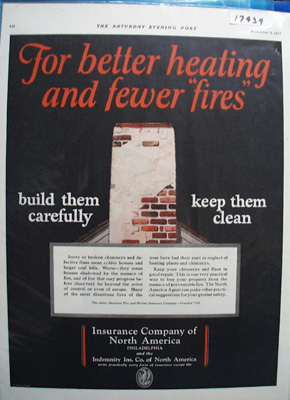 Ins. Co of N. America For Fewer Fires Ad 1927
