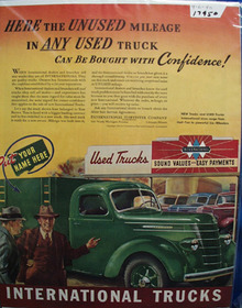 International Trucks Unused Mileage Ad 1940