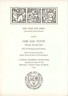 Cosi Fan Tutte New York City Opera program
