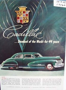 Cadillac standard of the world for 44 years. Ad