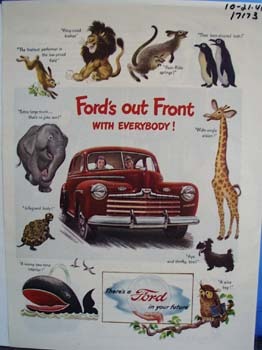 Fords out front with everybody. Ad was published 10/21/46.