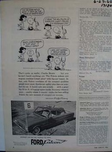 Ford Falcon and Charlie Brown. Ad