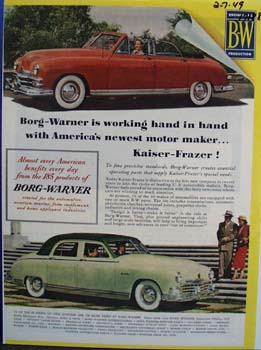 Borg-Warner is working hand and hand with Kaiser-Frazer. Ad