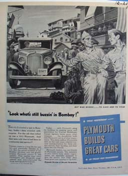 Plymouth look whats still buzzin in Bombay. Ad