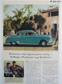 Studebaker all alone in really original postwar styling. Ad