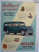 Willys Station Wagon rollback car expenses. Ad