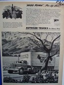Autocar Trucks for heavy duty. Ad was published 8/21/44
