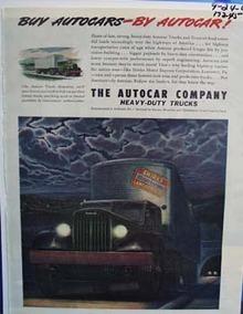 Autocar heavy-duty trucks. Ad was published 9/24/45
