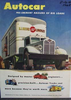 Autocar pre-eminent haulers of big loads. Ad