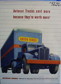 Autocar trucks engineered for heavy duty. Ad was published 1/27/47